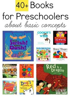 Over 40 Books for Preschoolers that teach about basic concepts.  A great starter book list for kids from Growing Book by Book.