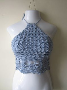 Crochet halter top cropped top bikini top by Elegantcrochets, $48