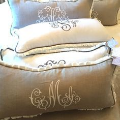 Monogram pillows to give for Christmas