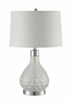 Clear curved glass and chrome base transitional style glass base table lamp with white round shade