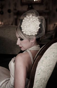 Millinery: Pearl covered Bridal Headpiece $428.72 #bridal #retro #pearls #millinery