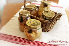 Compot de pere Mason Jars, Canning, Food, Antipasto, Deserts, Home Canning, Canning Jars, Meals, Yemek