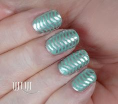 "Lola's Wavy Mani:  Essie ""Turquoise & Caicos"", stamped with Essie ""No Place Like Chrome"", MoYou London image plate Sailor 05."