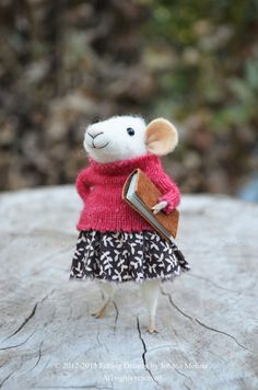 Little Coquet Mouse  Needle Felted Ornament  by feltingdreams on Etsy
