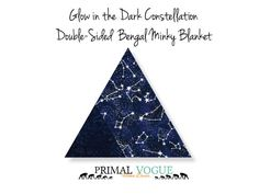 Glow in the Dark Constellation Double-Sided Bengal Stripe Minky Blanket by Primal Vogue™ - 36x36 40x60 - Navy Blue, White - Very Soft Minky