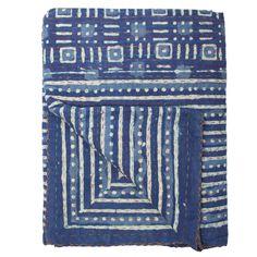 blue sea kantha quilt.