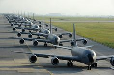 Cool photo of 12 US Air Force Stratotanker refueling planes in a row