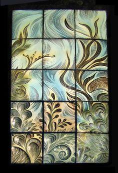 handmade, sgraffito-carved, backsplash tile by Natalie Blake Studios
