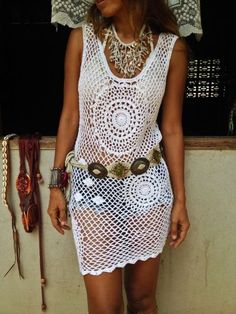 Bohemian Mandala Crochet Dress by SpellMaya on Etsy Crochet Skirts, Crochet Tunic, Crochet Mandala, Crochet Clothes, Crochet Lace, Crochet Woman, Fall Fashion Outfits, Diy Dress, Crochet Fashion