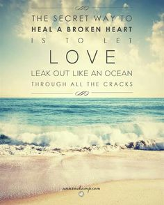The secret way to heal a broken heart is to let LOVE leak out like an ocean through all the cracks ~ Ann Voskamp