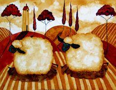 whimsical art | ... Art Folk Prints Whimsical Italian Farm Animals Running Sheep Fine Art