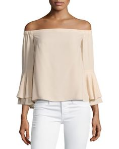 Arabelle+Off-the-Shoulder+Tiered+Bell-Sleeve+Top,+Beige+by+Amanda+Uprichard+at+Neiman+Marcus.