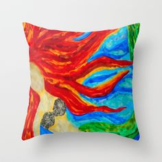 Underwater Flames Throw Pillow by ArtLovePassion - $20.00