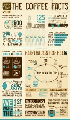 The Coffee Facts - All You Need to Know About Coffee and Fair Trade in the World. Created by The Coffee Club, a coffee house chain located in Belgium I Love Coffee, My Coffee, Coffee Drinks, Coffee Beans, Coffee Shop, Coffee Barista, Coffee Aroma, Kona Coffee, Coffee Creamer
