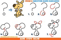 How to Draw a Cartoon Kangaroo from a Question Mark Shape - Easy Step by Step Drawing Tutorial for Kids (Step Drawing For Kids) Drawing Tutorials For Kids, Easy Drawings For Kids, Cool Art Drawings, Drawing For Kids, Cartoon Drawings, Animal Drawings, Kangaroo Drawing, Doodle Canvas, Kangaroo Kids