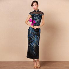Fabulous Embroidery Luxury Long Lace Qipao Dress - Blue - Qipao Cheongsam    Dresses - Women 7e69452793e8