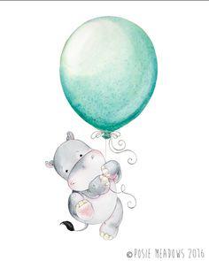 Hippopotamus Hippo Watercolor Hippo Baby Hippo Watercolor