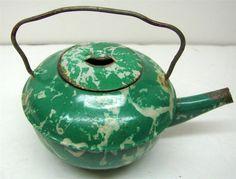 RARE Antq Vtg Green White Swirl Graniteware Enamelware Child Tea Kettle Toy | eBay