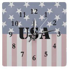 Stars and Stripes Patriotic Wall Clock