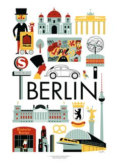 Berlin city poster for Lagom Design by Ingela P. Berlin Germany, Lagom Design, Image Deco, Illustrator, Travel Illustration, Mid Century Art, 17th Century, Travel Maps, Travel Posters