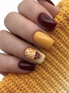 Amazing Fall Nails Colors With An Accent Leafy Nail Fallnails ; erstaunliche herbstnagel-farben mit einem akzent belaubte nagel-herbstnägel Amazing Fall Nails Colors With An Accent Leafy Nail Fallnails ; Classy Nail Designs, Fall Nail Art Designs, Classy Nails, Stylish Nails, Nail Manicure, Toe Nails, Manicures, Nail Polish, Fall Acrylic Nails