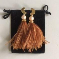 Lizzie Fortunato Jewelry | Lizzie Fortunato Feather Pearl Moon Earrings | Poshmark Moon Earrings, Statement Earrings, Tassel Necklace, Orange Color, Feather, Polka Dots, Women Jewelry, Copper, Pearls