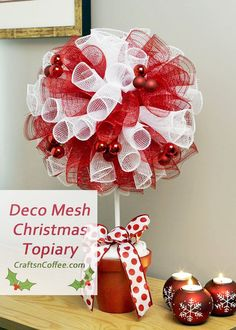 Here's a festive Christmas decoration to make this weekend – a red & white Deco Mesh Christmas Topiary. So many readers had fun with Patty Schaffer's Halloween Deco Mesh Ghost, an. Deco Mesh Crafts, Wreath Crafts, Deco Mesh Wreaths, Christmas Projects, Holiday Crafts, Yarn Wreaths, Ribbon Wreaths, Tulle Wreath, Floral Wreaths
