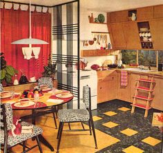 I love the cabinets and sliding step ladder in this 1950s kitchen. Click the image to learn how to give your kitchen a mid century makeover! http://www.retrorealtygroup.com