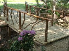 Rustic Garden Structures Bridges, Gates, & Trellises- maybe bridge going to lake. Garden Gates, Garden Bridge, Pond Bridge, Rustic Gardens, Outdoor Gardens, Outdoor Projects, Garden Projects, Rustic Landscaping, Rustic Backyard