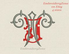 Double antique monograms from old books J & W. от EmbroideryZone