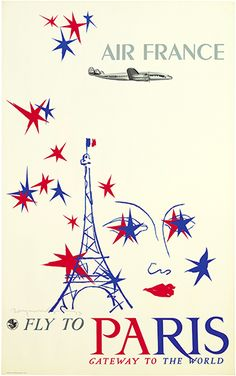 Vintage Air France Print, 1953 Advertisement, x Aviation Travel Poster Picture Fly to Paris No. Air France, France Art, Paris Poster, Poster S, Tour Eiffel, Photo Avion, Vintage Canvas, Vintage Travel Posters, Vintage Airline