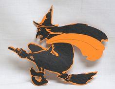 Vintage Halloween Signed Dennison Paper Witch on Broom Diecut Retro Halloween, Halloween Trick Or Treat, Halloween Signs, Halloween Witches, Vintage Halloween Images, Vintage Photos, Scary Movies, Horror Movies