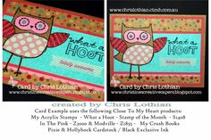 Close To My Heart - August Stamp of the Month - What a Hoot! - card created by Chris Lothian www.chrislothian.ctmh.com.au