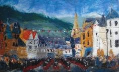 Felted painting - Peebles' Beltane Bands