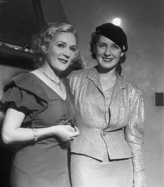 Mary Pickford and fellow Canadian actress Norma Shearer at a Hollywood party hosted by Gary Cooper on January 12, 1932.
