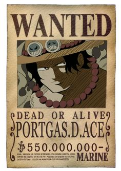 Portgas d ace bounty. One Piece Ace, One Piece Seasons, One Piece Bounties, One Piece Tattoos, Zoro, Simpson Wallpaper Iphone, Manga Anime One Piece, The Pirate King, One Peace