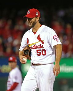 9fcda3d314705 Adam Wainwright smiles to Yadier Molina after forcing a fly out from David  Ortiz in the sixth inning of Game 5 of the World Series between t.