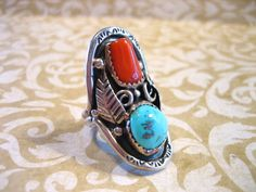 Vintage Navajo Sterling Silver Coral and by charmingellie on Etsy, $84.00