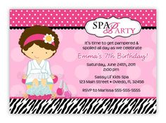 Cute Zebra And Pink SPA Birthday Invitation U by CherishedTimes, $14.00