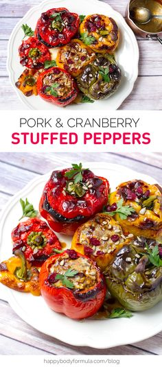 Pork & Cranberry Stuffed Peppers - grain free, paleo friendly, high protein recipe. From https://happybodyformula.com/pork-cranberry-stuffed-peppers/