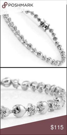 Wht Gold Sterling Silver, 1/5 CTW Diamond Bracelet Dazzling Women's White Gold Rhodium over Sterling Silver 1/5 CTW Diamonds 7inch Designer Bracelet Jewelry Bracelets #SterlingSilverWhiteGold