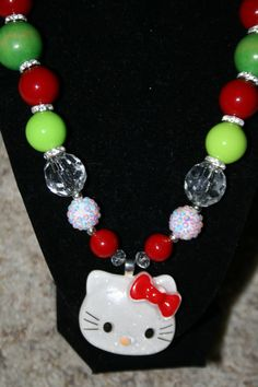 Green Red and White Bubblegum Bead by michellebebeboutique on Etsy, $15.00