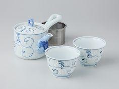 唐草ぶどう 軽量茶器セット 化粧箱入 【スーパーステンレス茶こし】