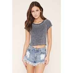Forever 21 Women's  Cuffed-Sleeve Burnout Tee (155 MXN) ❤ liked on Polyvore featuring tops, t-shirts, burnout tee, crew-neck tee, burn out t shirt, forever 21 t shirts and crewneck t shirt