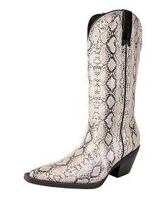 Loving this Bone & Black Stallion Cowboy Rain Boot on #zulily! #zulilyfinds
