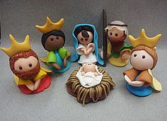 Kings and the Holy Family Christmas Nativity Set, Christmas Topper, Polymer Clay Christmas, Nativity Crafts, Christmas Crafts, Christmas Ornaments, Nativity Sets, Play Clay, Clay Baby