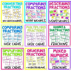 *9 Math center bundle aligned to the common core.*24 task cards in each math center including an answer key and student recording sheet.*24 simplifying fraction task cards*24 word problems