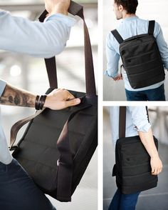 :Convertible messenger bag-backpack, with pull strap Messenger Bag Backpack, Diy Backpack, Leather Backpack, Leather Bag, My Bags, Purses And Bags, Mochila Jeans, Old Jeans, Backpack Pattern