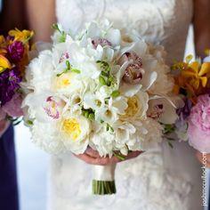 hydrangea, garden roses, cymbidium orchids and freesia