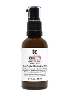 """Surgery in a Bottle - Kiehl's Over-Night Biological Peel,  said to be as effective as a 10 percent glycolic acid peel. It's $42—definitely less expensive than a peel (let alone the several 'peels' one bottle can deliver), and all you have to do is smooth it on and get into bed."""""""